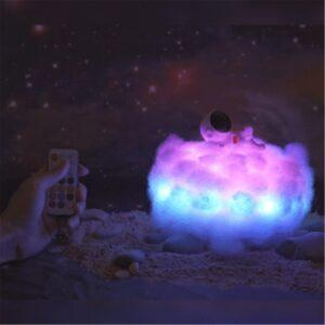 LED Colorful Clouds Astronaut Lamp With Rainbow Effect for Kids